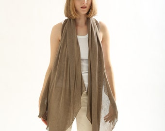 Brown knitting scarf ,knitted shawl