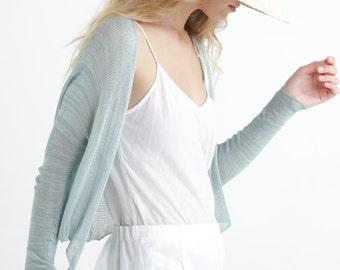 Hand Knitted Teal Cardigan, Short Open Cardigan Sweater, Sheer Wedding Cardigan, Elegant Eco Friendly Clothing