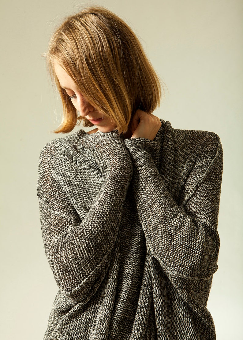 Chunky Gray Sweater Hand Knitted Cardigan Women Casual image 0