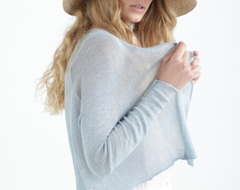 Hand Knitted Aqua Cardigan, Short Open Cardigan Sweater, Sheer Wedding Cardigan, Elegant Eco Friendly Clothing