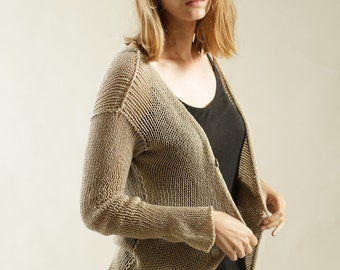 Light Taupe knit sweater, women jacket, Handmade  knit cardigan with buttons.