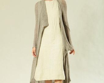 Women gray knitted long sweater coat cardigan, Grey Mélange Handmade Cotton Cardigan