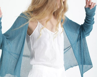 Women's Turquoise Knit Cardigan, Long Sleeve Short Cardigan, Fashionable Loose Cardigan, Casual Silky Soft Cardigan, Layering Cardigans