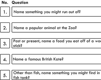 Game 25 - Family Fortunes / Family Feud - 10 Quiz Family Fortune Questions And Answers - Instant Delivery