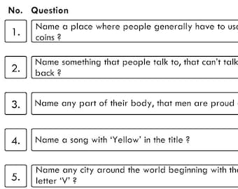 Game 26 - Family Fortunes / Family Feud - 10 Quiz Family Fortune Questions And Answers - Instant Delivery