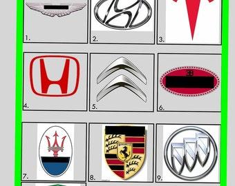 Picture Quiz - Picture Round 3 - Car Manufacturers (Printed Version)   10x Copies Per Quantity   Free UK Delivery
