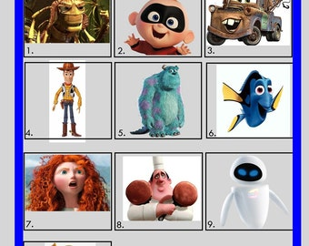 Picture Quiz - Picture Round 4 - Pixar Characters (Printed Version)   10x Copies Per Quantity   Free UK Delivery