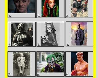 Picture Quiz - Picture Round 1 - Baddies & Villains (Printed Version)   10x Copies Per Quantity   Free UK Delivery