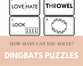 20x Dingbats Quizzes   200 Puzzles For Adults And Teens To Solve   Digital Puzzle Book   Virtual Quiz Night   Instant Delivery