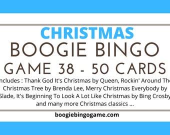 Boogie Bingo Music Bingo Game 38 (Christmas Boogie Bingo) - 50 Tickets - Instant Delivery