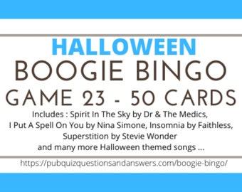 Boogie Bingo HALLOWEEN Music Bingo (Game 23) - 50 Tickets - Instant Delivery