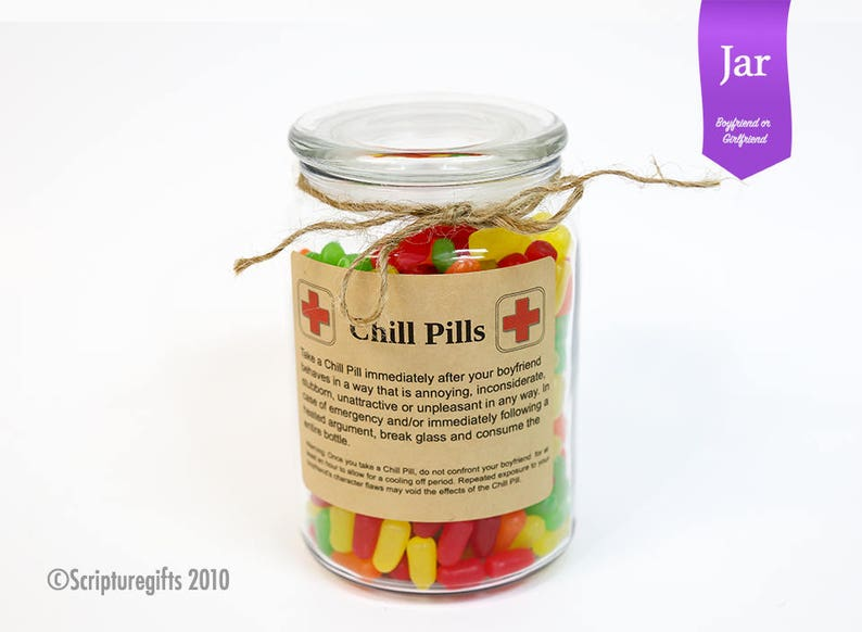 Chill Pill for BOYFRIEND/GIRLFRIEND Glass Apothecary Jar Funny image 0