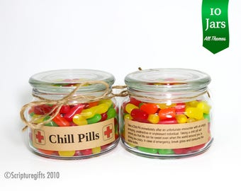 Set of 10 Chill Pill 8 oz Apothecary Containers