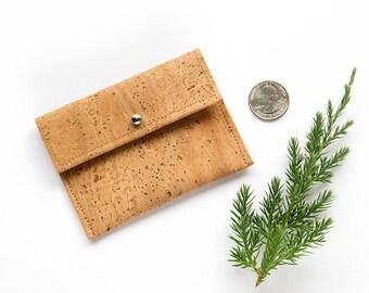 Card case women, cork coin purse, cork card holder, cork purse, cork wallet, cork coin purse, vegan card holder