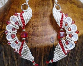 Beaded  Micro Macrame Earrings  Red and White