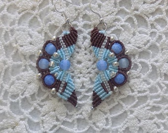 Beaded Micro Macrame  Earrings Blue and Brown