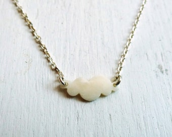 Cloud necklace polished bone and sterling silver