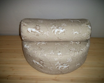 """Large Zafu and Bolster Pair. UNFILLED COVERS Only. 17"""" dia. x 6"""". H.. Bolster 15"""" x 5"""". Repurposed Tan Animal Print.  Handmade, USA"""