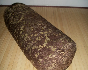 """Bolster Pillow. Meditation Prop. Home Decor Pillow.  Brown and avocado/olive batik Cover and UNFILLED insert.  Zippered. 15"""" x 5"""". USA made"""
