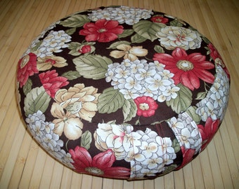 Zafu Meditation Cushion Round Floor Pillow UNFILLED COVER. Rose Floral on Brown Print cotton fabric. 15 x 5. Sidewall Zipper. Handmade, USA
