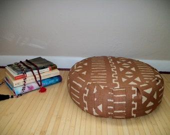 "Zafu Meditation Cushion. Floor Pillow. Milk Chocolate Kilim Print. UNFILLED COVER. 6"" L. Sidewall Zipper. 15"" in dia. x 5"" H. Handmade, USA"