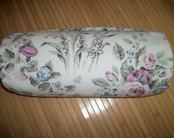"Bolster Pillow. Home Decor Pillow. Roses and Lily of the Valley cotton print. Buckwheat filled insert.  Zippered. 15"" x 5"". USA Handmade"
