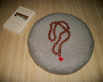 """Floor Pillow. Zafu Meditation Cushion. Pouf. 15x5. Lt. Brown Hemp Blend Fabric. Buckwheat hulls filled. 6"""" long Sidewall Zipper. USA made."""