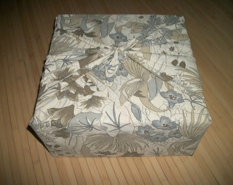 "Furoshiki reuseable fabric gift wrap. Foliage print in pastel colors. Can be used for your zafu purchase. 32"" x 33"" Or, as a neck scarf."