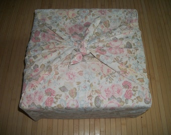 """Furoshiki reuseable fabric gift wrap. Pastel floral/roses print. Can b used for your zafu purchase. 35"""" x 35"""" Or, as a neck scarf. USA made."""