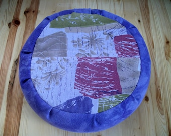 "Purple Meditation Cushion Zafu. Floor/Dorm Pillow. Buckwheat hull, Roses and Lavender filled. 15""x5"". 6""L. Closure. Handmade, USA by ZafuChi"