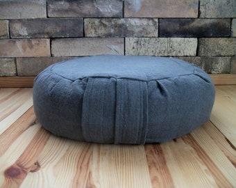 "Zafu Meditation Cushion Cover UNFILLED. Linen/blend Fabric in Charcoal. 15""x5"". 6"" L Sidewall closure. Handmade, USA"