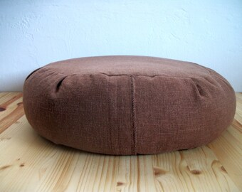 "Zafu Meditation Cushion with Buckwheat hulls. Potting Soil Hopsack Brown Linen Rayon Blend Fabric. Sewn shut for prisoners. 15""x5"" USA made."