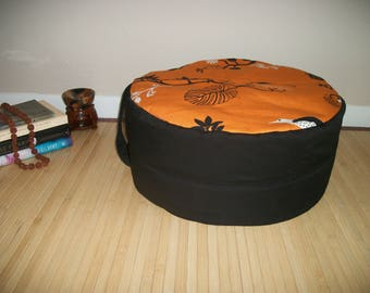 """Large Zafu. Round Floor Pillow. Ottoman. UNFILLED COVER Only. Black Twill blend with Orange Bird Print. 17"""" dia. x 8"""". H. Handmade, USA"""