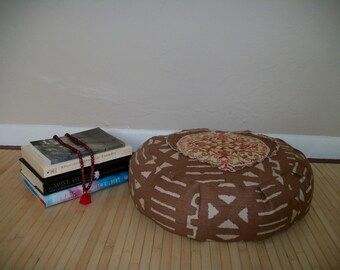 "UNFILLED Brown and Rose Medallion Heart Zafu Meditation Cushion. Dorm/Floor Pillow. 15""dia.x5""H., 6""L. zipper. Handmade USA"