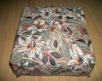 """Furoshiki reuseable fabric gift wrap. Tropical foliage print. Can be used for your zafu purchase. 35"""" x 35"""" Or, as a neck scarf. USA made."""