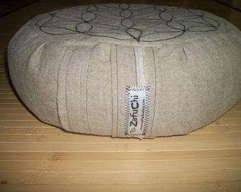 "Meditation Cushion. Zafu. Flower of Life, OR Spiral. Linen/Rayon Slub Fabric. 15""x5"". BuckwheatHulls. 6"" L. Sidewall Velcro. Handmade USA."