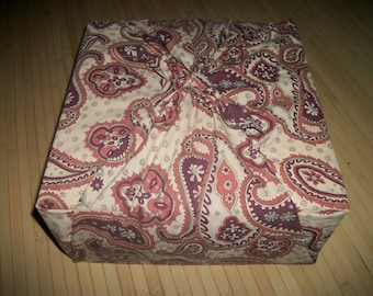 """Furoshiki reuseable fabric gift wrap. Large paisley print. Can be used for your zafu purchase. 34"""" x 36"""" Or, as a neck scarf. USA made."""