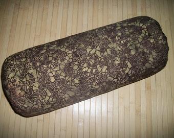 """Brown Batik Bolster Pillow. Meditation Prop. Home Decor Pillow.  Buckwheat filled insert.  Zippered. 15"""" x 5"""". USA made"""