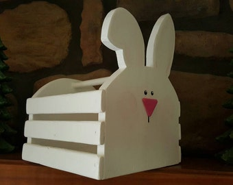 Adorable White Easter Bunny Wooden Basket with Handle, You can decorate with ribbon your of choice!