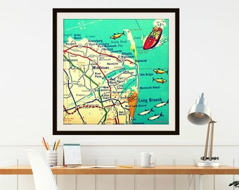 Jersey Shore Map, New Home Gift, Travel Gift, New Jersey Gift, Vintage SANDY HOOK map, New Jersey Home Jersey Shore home Seabright Monmouth