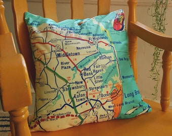 Jersey Shore Map Pillow Cover, Sandy Hook New Jersey Pillow Jersey Shore Map Pillow, NJ Jersey Girl Gift, New Jersey Home Decorative Pillow