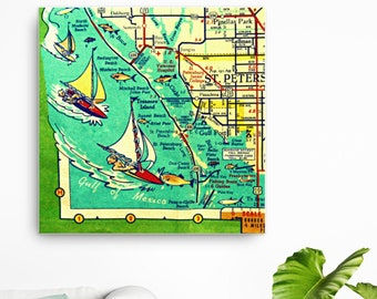 St petersburg fl map | Etsy