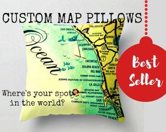 Custom City Map Pillow Covers 18x18, Travel Gifts, City Pillows, Custom Gift Ideas, Vintage Maps, Urban Decor