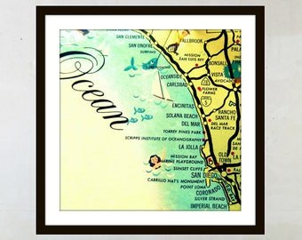 California Map Art, San Diego Map Art, Travel Gift Vintage California Wall Art Mid Century California Wall Art San Diego Map Delmar La Jolla