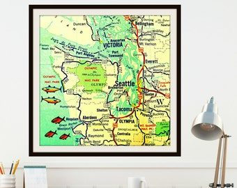 Seattle Map, Travel Gifts, Gifts for Him, Seattle gift, Wanderlust Gifts, Seattle Art, Outdoors Gifts, Washington Map Art City map Color Map