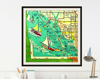 St Petersburg Florida Map.Vintage Florida Map Art Map Gifts St Petersburg Map Art 8x10 Etsy