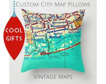 custom christmas gifts custom vintage map pillow covers 18x18 custom husband gifts ideas wife to husband gifts hometown gifts travel map