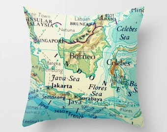 Fiji Map Pillow Covers Fiji Islands Pillows South Pacific | Etsy