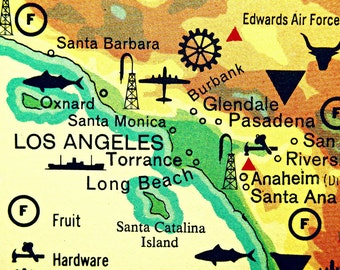 Los Angeles Map Cool Etsy