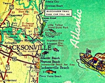 Ft Myers Florida Map.Retro Ft Myers Florida Map Art 8x10 Sanibel Fl Map Print Ft Etsy